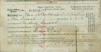 Receipt from the Dublin Cemeteries' Office for the interment of Michael Cusack.