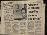 'Whatever he believed I stand by him - he was my son', press cutting from The Sentinal