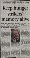 'Keep hunger strikers' memory alive' by Martin McGuinness, press cutting from the Derry Journal