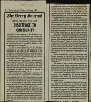 'Disservice to community', press cutting from the Derry Journal