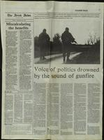 'Voice of politics drowned by sound of gunfire', press cutting from The Irish News