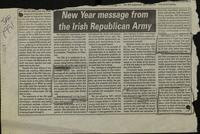 'New Year Message from the Irish Republican Army', press cutting from An Phoblacht