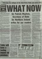 'What now' by Sir Patrick Mayhew, press cutting from Sunday Life