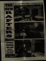 File of press cutting and photographs on opening of 'Rafters Bistro'