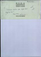 Original envelope and note by Michael Oatley to Brendan Duddy