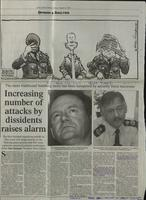 'Increasing number of attacks by dissidents raises alarm', press cutting from The Irish Times