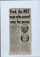 'Fred, the MI5 man who paved the way for peace', press cutting from The Mirror
