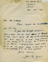 Handwritten letter from John McGahern