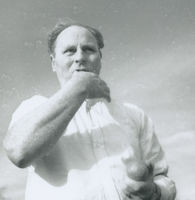 Photograph of Flor Crowley, a road bowler in Co Cork.