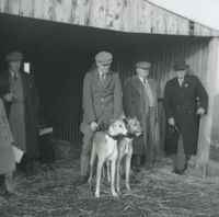 Photograph of 5 people standing in front of a shed at a coursing meeting.