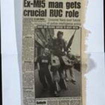 Press cutting from Sunday Life by Alan Murray, entitled 'Ex- MI5 man gets crucial RUC role'.