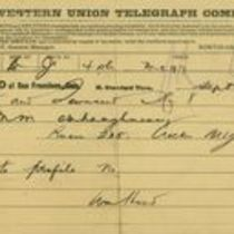 Telegram to M. M. O'Shaughnessy from William Hood