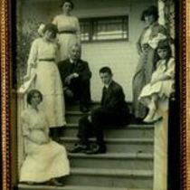 Family photograph of the O'Shaughnessy's on the steps of their Mill Valley home