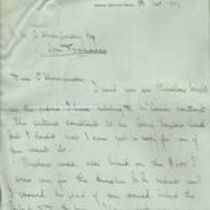 Letter to M. M. O'Shaughnessy from Alexander Hill