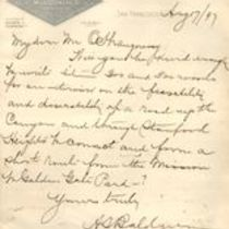 Handwritten letter to M. M. O'Shaughnessy from A. S. Baldwin