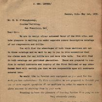 Letter to M. M. O'Shaughnessy from J. Geo. Leyner