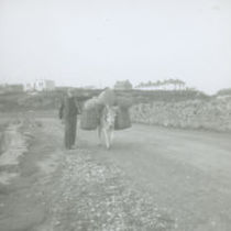 Photograph of a man and his donkey ladden down with provisions on a road on the Aran Islands