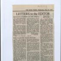 Press cutting from the letters section of The Irish Times