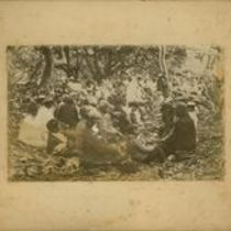 Photograph of workers on Koolau aqueduct project and their families