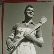 Photograph of an Offaly player with his hurley in New York.