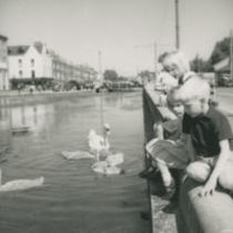 Photograph of the Taft children sitting on the wall of the Grand Canal, Dublin, watching some swans