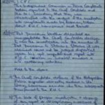 Handwritten notes entitled 'Policing issues' by [Éamonn Downey]