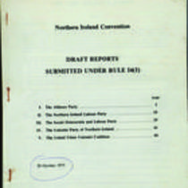 Printed draft reports of five Northern Ireland political parties