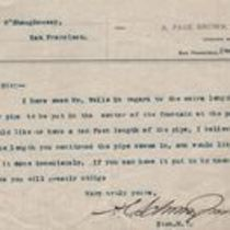 Typed memo to M. M. O'Shaughnessy from Arthur Page Brown