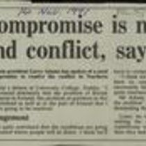 'Compromise is needed to end conflict, says Adams', press cutting from The Irish Times