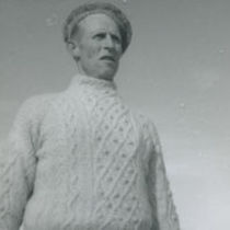 Photograph of Peter 'Phatch' Faherty wearing an Aran sweater and hat.