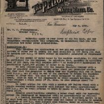 Letter to M. M. O'Shaughnessy from The Pelton Water Wheel company