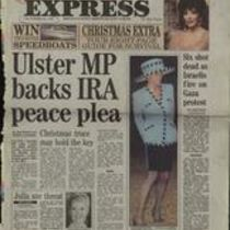 'Ulster MP backs IRA peace plea', press cutting from The Sunday Express