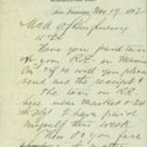 Letter to M. M. O'Shaughnessy from Sam Sussman
