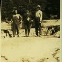 Photograph of M M O'Shaughnessy two unidentified workmen