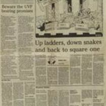 Press cutting from the Irish News with two articles