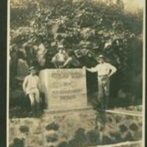Photograph of M. M. O'Shaughnessy and colleagues at the Koolau Ditch monument