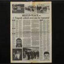 'Rest in Peace - a tragedy which must not be repeated' press cutting from the Derry Journal