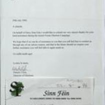 Printed and handwritten receipt and letter from members of Sinn Féin, Derry
