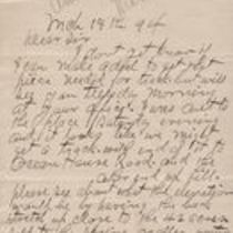 Handwritten letter to M. M. O'Shaughnessy from  Edward Corrigan